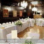 The wedding breakfast room and top table at Bartley Lodge Hotel, New Forest.