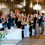 Guests welcome Sam & Carl into the wedding breakfast.